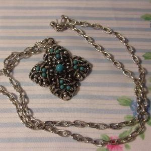 """Avon Turquoise Silver Pendant Necklace 24"""" L"""